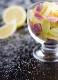 Sour jelly beans in glass cup Royalty Free Stock Photos