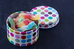Sour jelly worm candy Royalty Free Stock Images