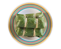 Sour pork. On banana leaf. pork shredded and salted. bound tightly with banana leaves, and eaten slightly fermented Stock Images