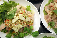 Sour Pork Salad is the local cuisine. Stock Photography
