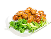 Sour pork. Sausage balls on a plate Royalty Free Stock Images