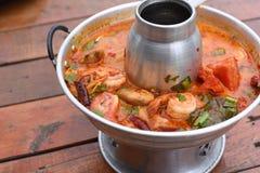 Sour prawn soup. A Sour prawn soup on table Royalty Free Stock Image