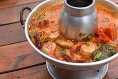 Sour prawn soup. A Sour prawn soup on table Royalty Free Stock Photos