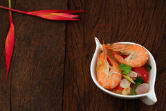 Sour prawn soup is Thai food. Sour prawn soup is Thai food name Tom Yum Kung Stock Photography