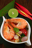 Sour prawn soup is Thai food. Sour prawn soup is Thai food name Tom Yum Kung Royalty Free Stock Photo