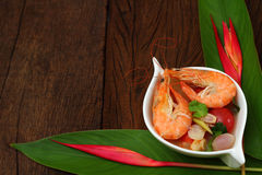 Sour prawn soup is Thai food. Sour prawn soup is Thai food name Tom Yum Kung Royalty Free Stock Photography