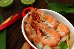 Sour prawn soup is Thai food. Royalty Free Stock Image