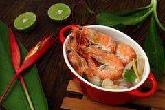 Sour prawn soup is Thai food. Royalty Free Stock Photos