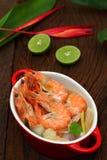 Sour prawn soup is Thai food. Sour prawn soup is Thai food name Tom Yum Kung Stock Photos