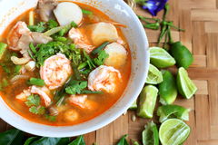 Sour prawn soup,Thai traditional food. Hot and Sour prawn soup in condensed water, Thai traditional food Royalty Free Stock Photography