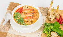 Sour prawn soup. Or Tom Yum Goong, The most aromatic thai spicy & sour soup Stock Image