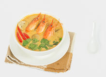 Sour prawn soup. Or Tom Yum Goong, The most aromatic thai spicy & sour soup Royalty Free Stock Photo