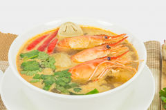 Sour prawn soup. Or Tom Yum Goong, The most aromatic thai spicy & sour soup Stock Images