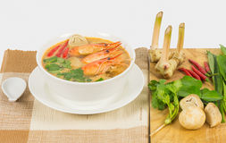 Sour prawn soup. Or Tom Yum Goong, The most aromatic thai spicy & sour soup Royalty Free Stock Images