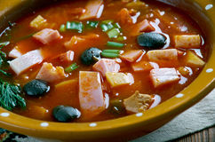 Sour Russian soup. Seljanka a thick, spicy and sour Russian soup. ingredient being either meat, fish, or mushrooms. All of them contain pickled cucumbers with Royalty Free Stock Images