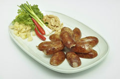 Sour sausage. Pork sour sausage with Thai style in Asia Royalty Free Stock Photos