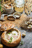 Sour soup in bread spiced with marjoram Royalty Free Stock Photography