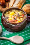 Sour soup with bread. Stock Image