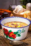 Sour soup with bread. Royalty Free Stock Photos