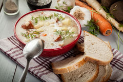 Sour soup made of rye flour Royalty Free Stock Photo