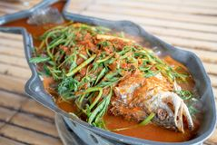 Hot and sour soup sea bass selective focus royalty free stock photo