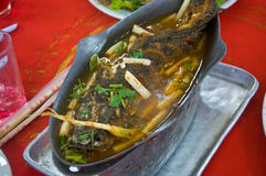 Sour soup made of tamarind paste with walking catfish Royalty Free Stock Photos