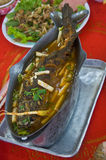 Sour soup made of tamarind paste with walking catfish Stock Images