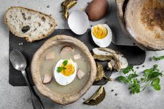 The sour soup served in bread bowl royalty free stock images