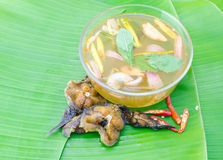Sour and spicy smoked dry fish soup Royalty Free Stock Image