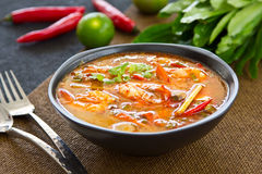 Sour and Spicy soup Prawn [Thai's Tomyum kung ] Stock Photo