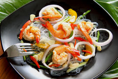 Sour & Spicy Vermicelli Salad With Prawn Stock Photography