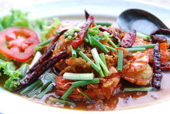 Sour and sweet stir-fried with prawns. Thai style Royalty Free Stock Images