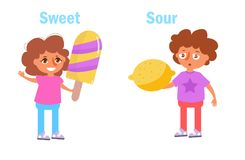 Sour and sweet Vector. Cartoon. Antonym Sour and sweet Vector. Cartoon. Isolated art on white background. Flat Royalty Free Stock Images