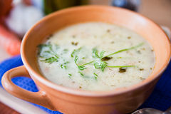 Sour and tasty cucumber soup Stock Images