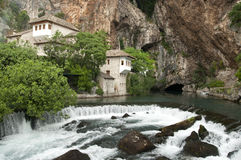 Source of Buna river near the monastery of Blagaj Royalty Free Stock Photography