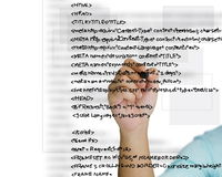Source code. Hand write a html source code Stock Photo