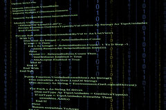 Source code. In black background Royalty Free Stock Image
