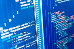 Source code close-up. Software abstract background. Technology background. Script procedure creating. Business and AI technology stock photo