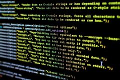 Source code of Ethereum, cryptocurrency and decentralized system Royalty Free Stock Photo