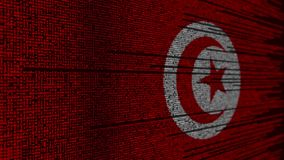 Program code and flag of Tunisia. Tunisian digital technology or programming related loopable animation. Source code and flag. Programming or digital technology stock video