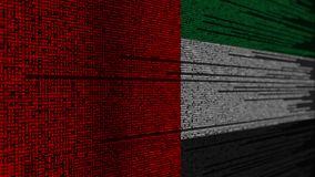 Program code and flag of the UAE. United Arab Emirates digital technology or programming related loopable animation. Source code and flag. Programming or digital stock footage