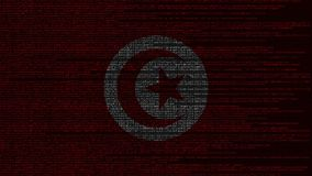 Source code and flag of Tunisia. Tunisian digital technology or programming related loopable animation. Source code and flag. Programming or digital technology stock footage