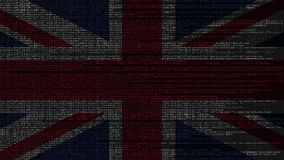 Source code and flag of the United Kingdom. British digital technology or programming related loopable animation. Source code and flag. Programming or digital stock video
