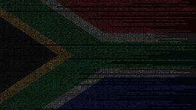Source code and flag of South Africa. SAR digital technology or programming related 3D rendering. Source code and flag. Programming or digital technology related vector illustration
