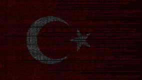 Source code and flag of Turkey. Turkish digital technology or programming related loopable animation. Source code and flag. Programming or digital technology stock footage