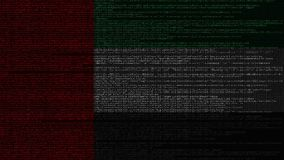 Source code and flag of the UAE. United Arab Emirates digital technology or programming related loopable animation. Source code and flag. Programming or digital stock footage