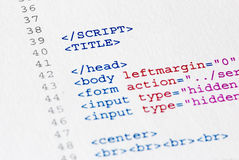 Source code program. Close up of the Script code page Stock Image