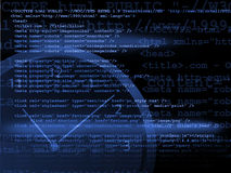 Source code technology. Background in blue Royalty Free Stock Image
