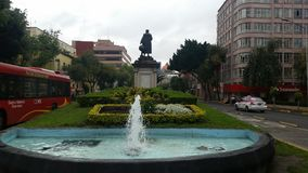 source of Cristobal Colon on a cloudy day in the city of Mexicorn Stock Image