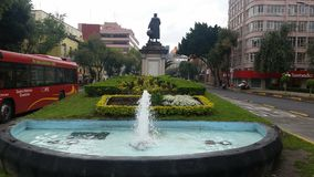 source of Cristobal Colon on a cloudy day in the city of Mexicorn Royalty Free Stock Photos